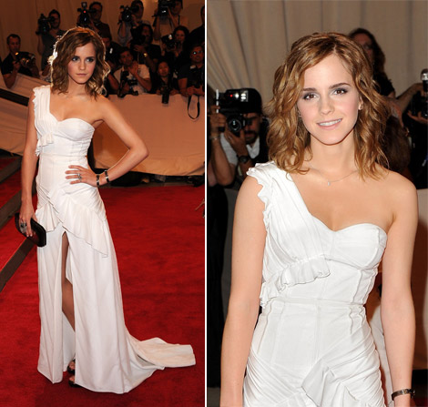 White Graduation Dress on 2010 Emma Watson White Burberry Dress Met Gala 2010     Yusrablog Com