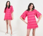 Vintage Crochet Lace Pink Tunic Dress