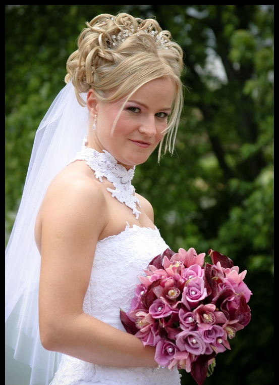 Long Hair Half Up Wedding Hairstyles with Veil