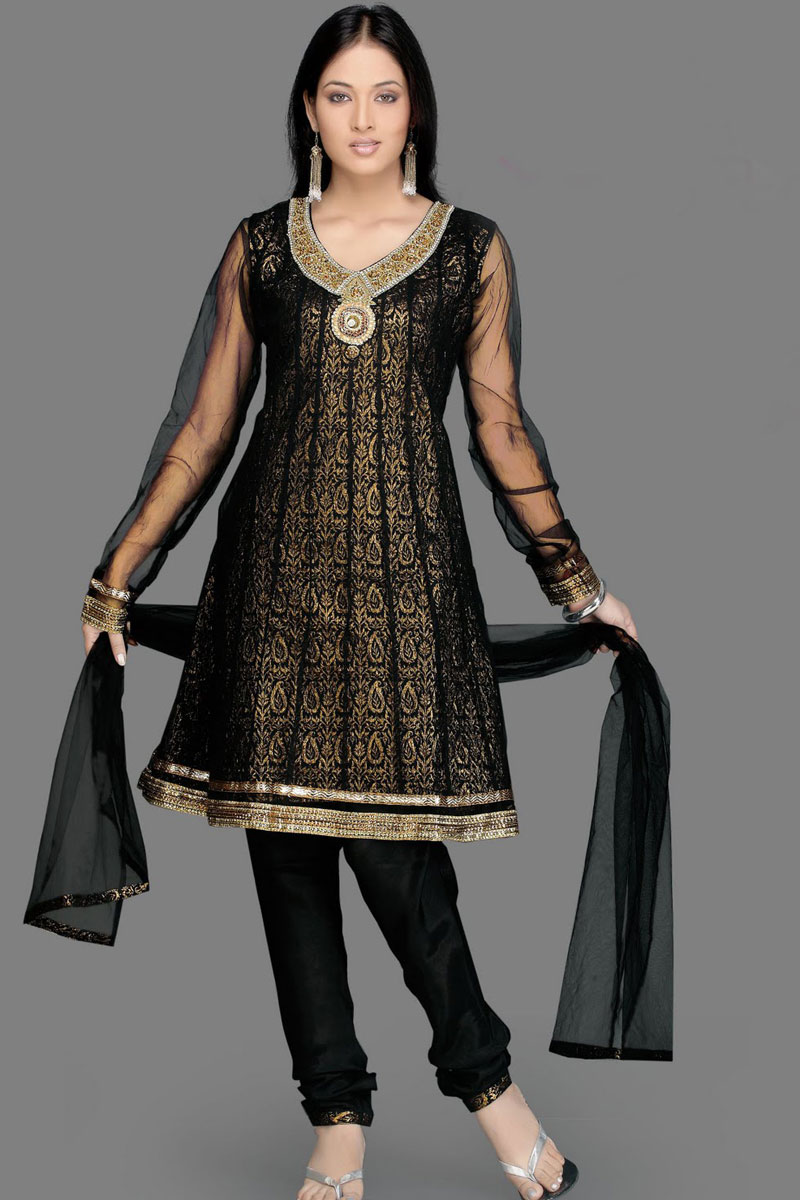 Beautiful Black Churidar Eid Salwar Kameez for Girls ...