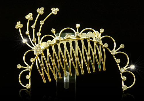 Bridal Flowers Crystal Rhinestone Gold Hair Comb - Bridal Gold Hair Combs: 15 Remarkable Collection