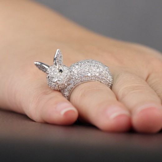 Bunny Cocktail Ring is made of Pave Set Faux Diamonds and Sterling Silver 520x520 - Glamorous Animal Cocktail Rings Fashion For 2011