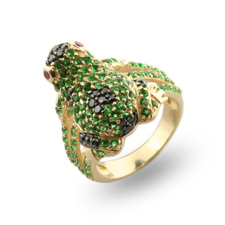 Dazzling Lucky Green Frog Gold Vermeil Cocktail Ring - Glamorous Animal Cocktail Rings Fashion For 2011