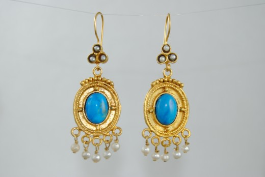 Earrings with Blue Turquoise and Pearl Drops for Bride