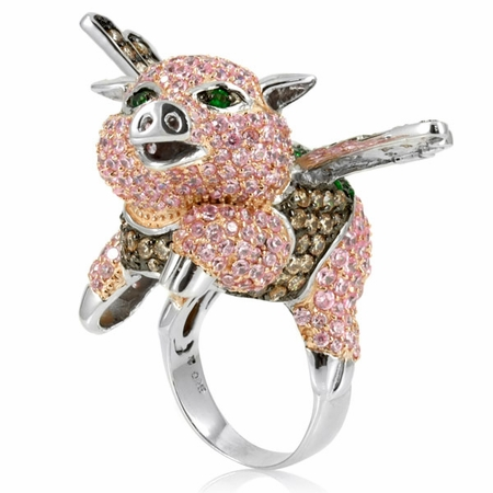 Ferns Flying Pig Cocktail Ring 2011 - Glamorous Animal Cocktail Rings Fashion For 2011