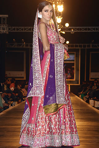 Mehdi Collection on Multi Color Lehnga Dresses - Mehdi Pakistani Designer Collection at Bridal Couture Week 2010