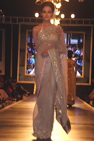 New Collection of Mehdi Mehdi Saree Dress at Couture Week 2010 - Mehdi Pakistani Designer Collection at Bridal Couture Week 2010