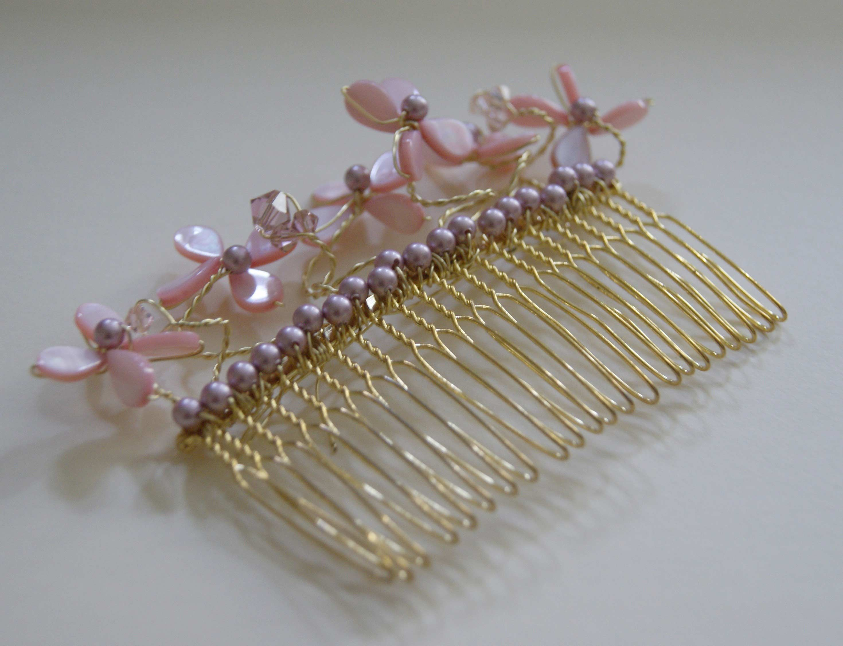Bridal Gold Hair Combs: 15 Remarkable Collection Pink Pearl Flower ...