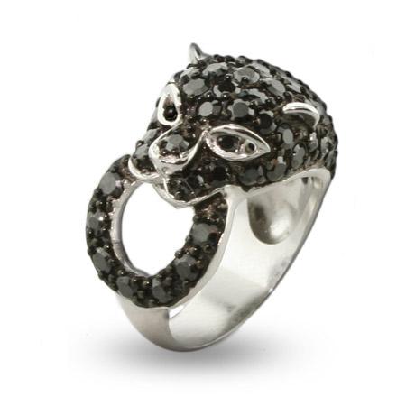 Shimmering Black Panther CZ Cocktail Ring - Glamorous Animal Cocktail Rings Fashion For 2011