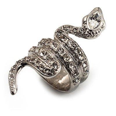 Silver Tone Swarovski Crystal Snake Ring - Glamorous Animal Cocktail Rings Fashion For 2011