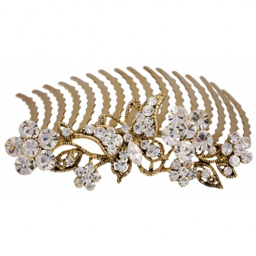 Simply Enchanting Hair Comb 520x520 - Bridal Gold Hair Combs: 15 Remarkable Collection