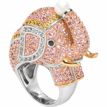 Zoelles Pink Elephant Cocktail Ring - Glamorous Animal Cocktail Rings Fashion For 2011