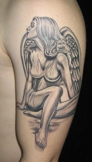 greek tattoo. Angel Shoulder Tattoo Design