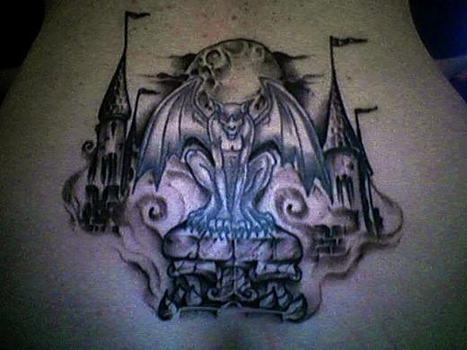 most beautiful gargoyle tattoo design in the world. Black Bedroom Furniture Sets. Home Design Ideas