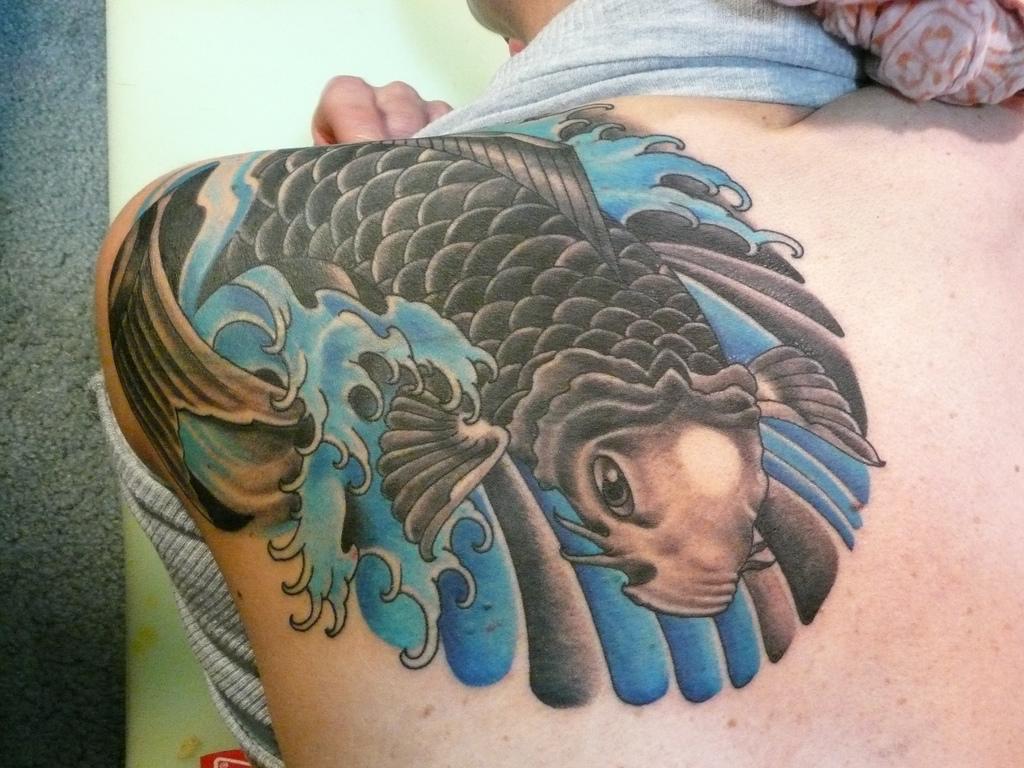 koi fish tattoo back