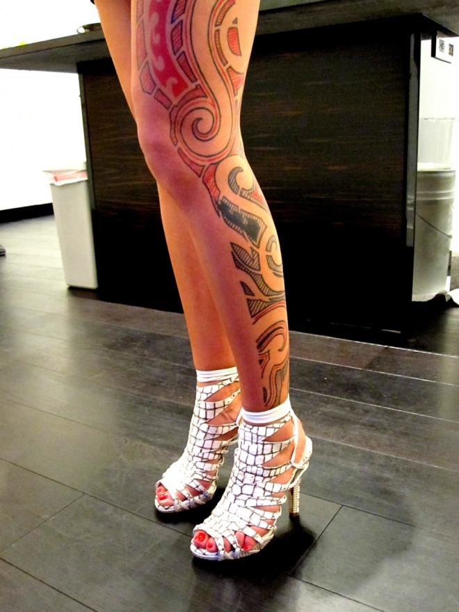 Outstanding Leg Tattoo Design For Girls