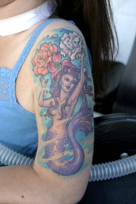 you are looking cute with mermaid tattoos for girls