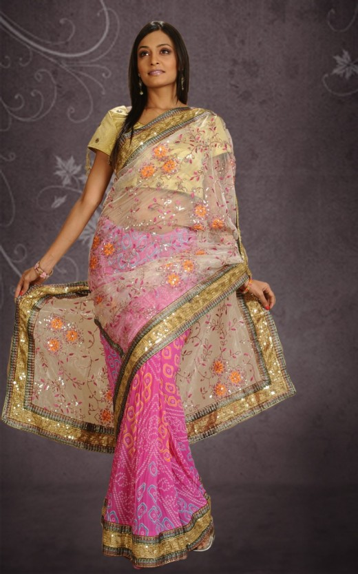 Beautiful Bandhani Saree Dress for Wedding