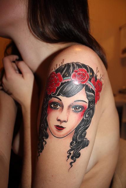 rose tattoos for girls on shoulder. shoulder sleeve tattoo.