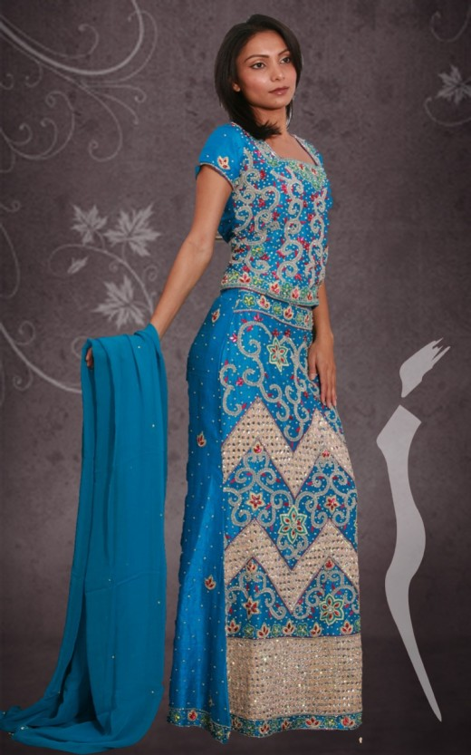 Blue Lengha Choli Design for Asian Girls