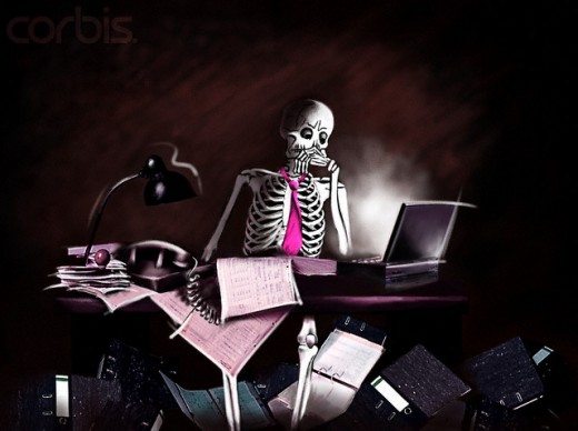 Skeleton Sitting at Its Desk