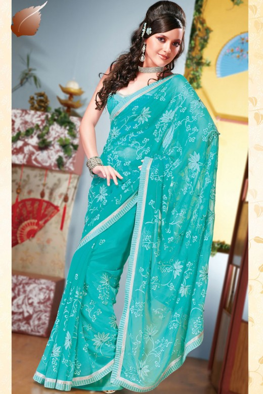 Elegant Style of Saree for Party 2011 520x780 - 2011 Party Wear Sarees Designs Collection
