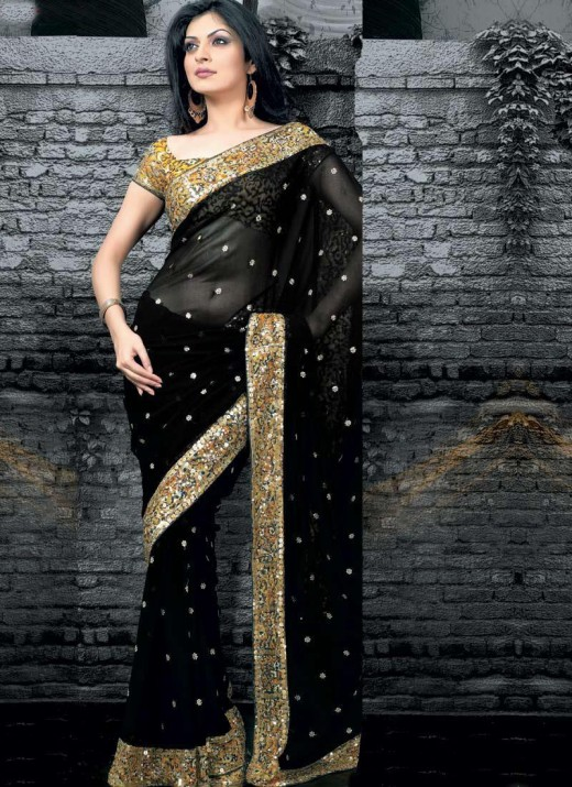 Fancy 2011 Black Saree Fashion for Party 520x715 - 2011 Party Wear Sarees Designs Collection