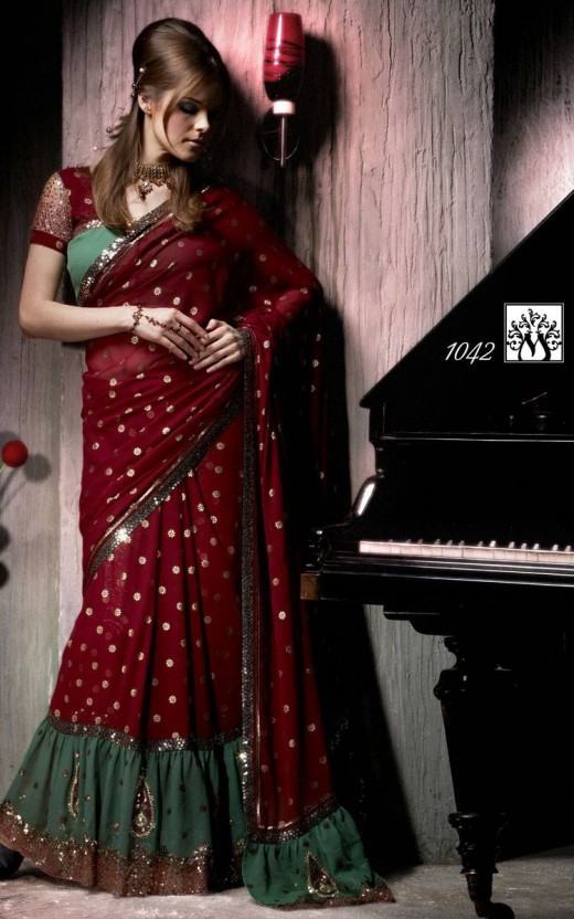 Fresh Party Saree Gathered Design for Women 520x832 - 2011 Party Wear Sarees Designs Collection