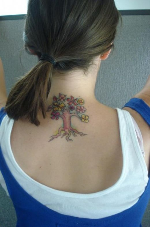Tattoo Design For Neck. Girls Tree Tattoo Designs For