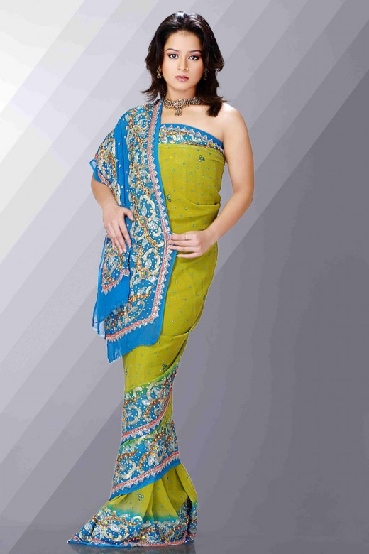 Green and Blue Indian Georgette Saree 2011 520x780 - 2011 Party Wear Sarees Designs Collection