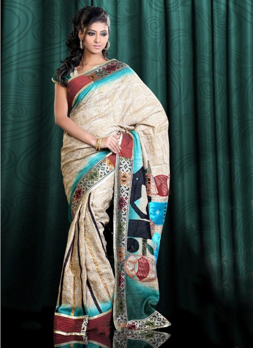 Indian Party Wear Saree Fashion For Female 2011 520x715 - 2011 Party Wear Sarees Designs Collection
