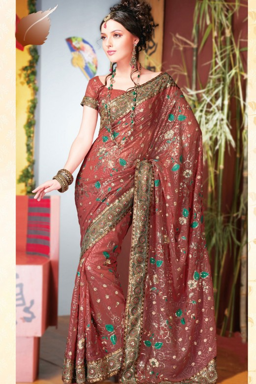 Latest Design of Party Saree for Bride 2011 520x780 - 2011 Party Wear Sarees Designs Collection