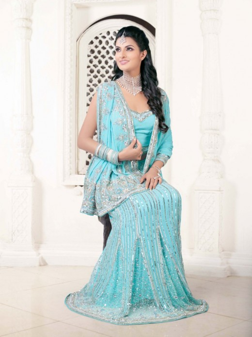 Light Blue Georgette Bandhani Saree for 2011