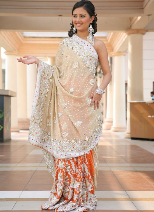 Party Saree with New Embroidery for Teenager 2011 520x715 - 2011 Party Wear Sarees Designs Collection