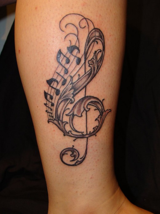 Cute Music Tattoo New Style for Leg 2011