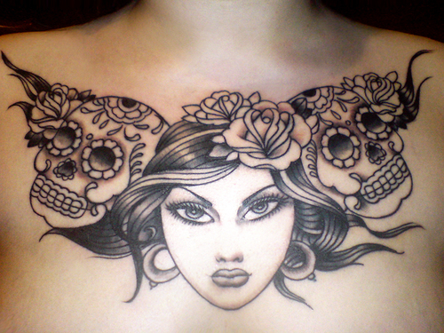 Floral Chest Piece Tattoo Design for Hot Girls 2011