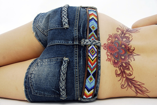 girls tattoos on back. Girls Lower Back Tribal Tattoo