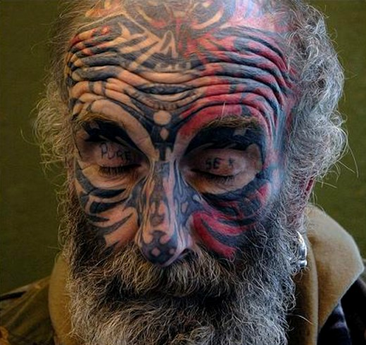 Old Men Tattoo Design Fashion on Face 2011