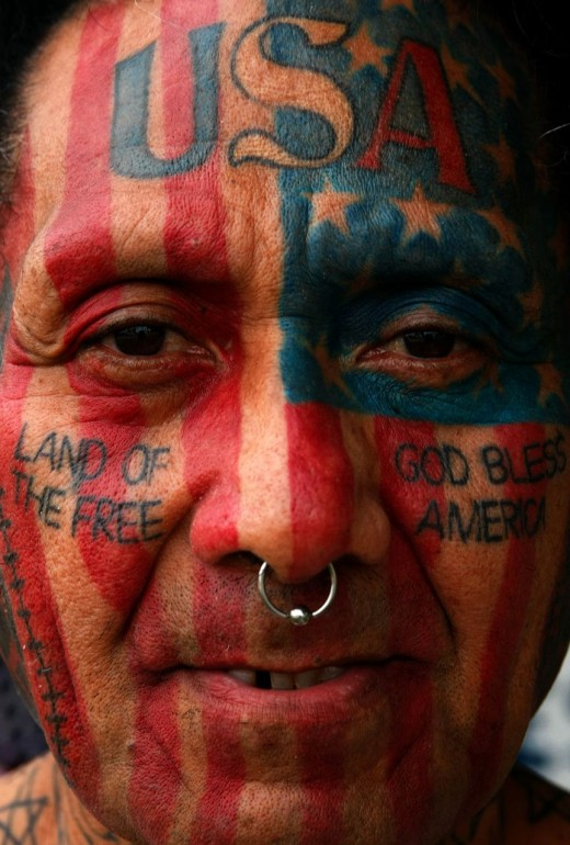 Patriotic Face Tattoo Design for Men