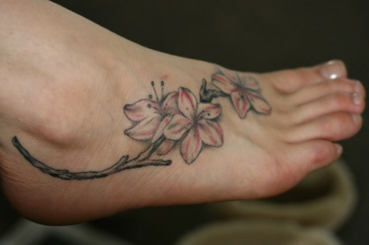 Flower Foot Tattoo Design for Younger Girls