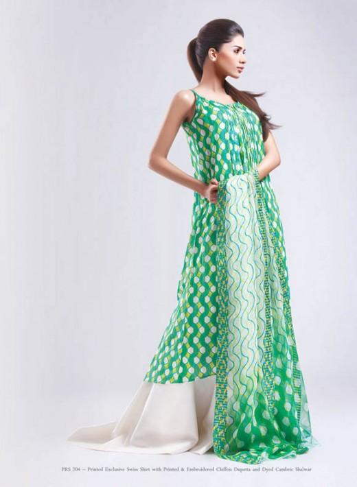 White and Green kayseria Lawn Collection - Kayseria Lawn Prints Collection For Summer