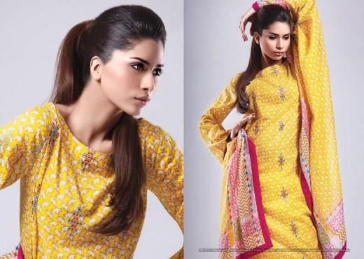Yellow Kayseria Lawn Salwar Kameez Collection - Kayseria Lawn Prints Collection For Summer