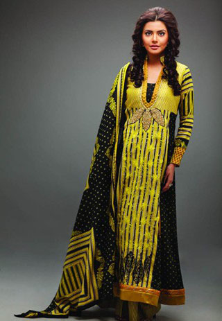 Yellow and Black Star Pearl Lawn Collection - Nida Yasir Star Pearl Lawn Collection For Summer
