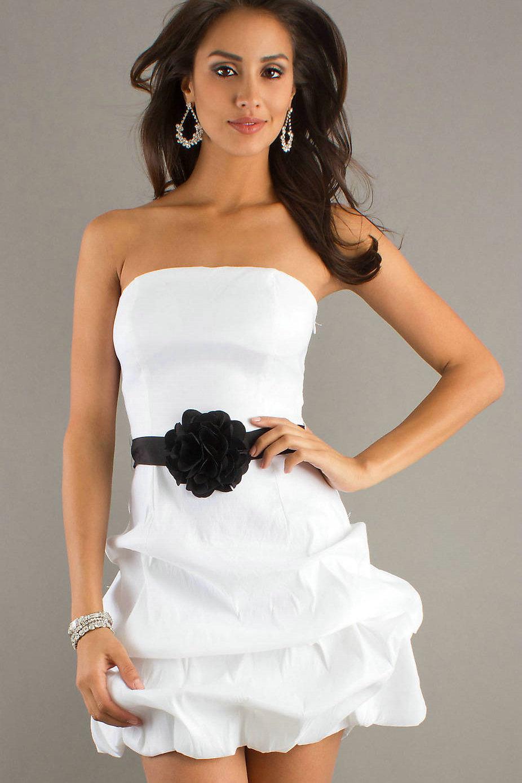 Short Strapless White Graduation Dress - YusraBlog.com
