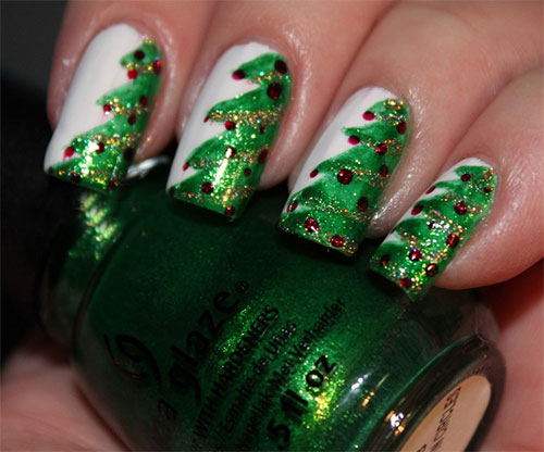 15 Stylish Tree Inspired Christmas Nail Art 2013